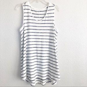 Merona Striped White & Blue Sleeveless Top XS